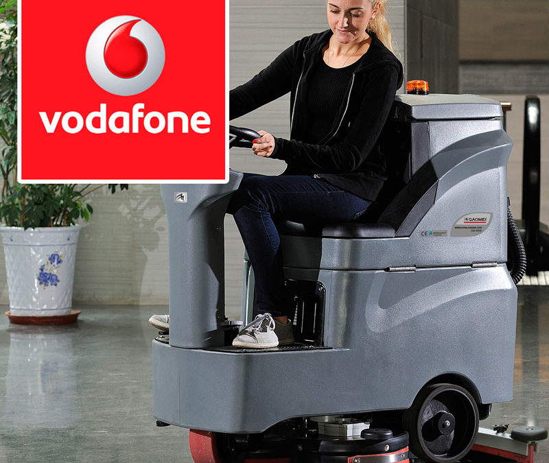 поломоечная машина Gaomei GM-MINI убирает Vodafone